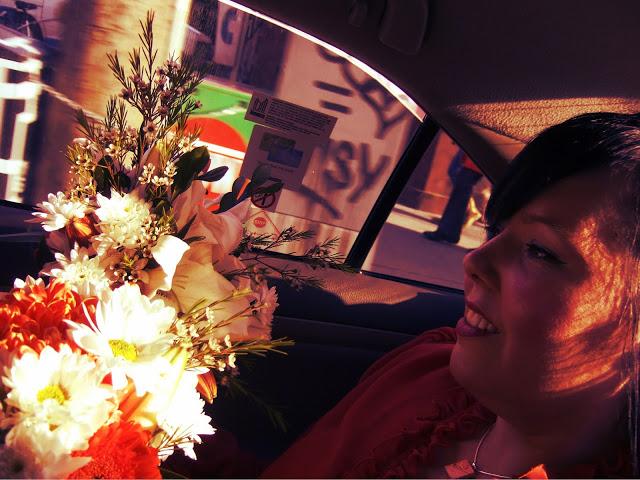 Vintage bride in a taxi