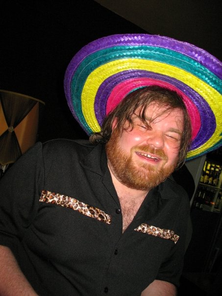 drunk guy in a funny sombrero